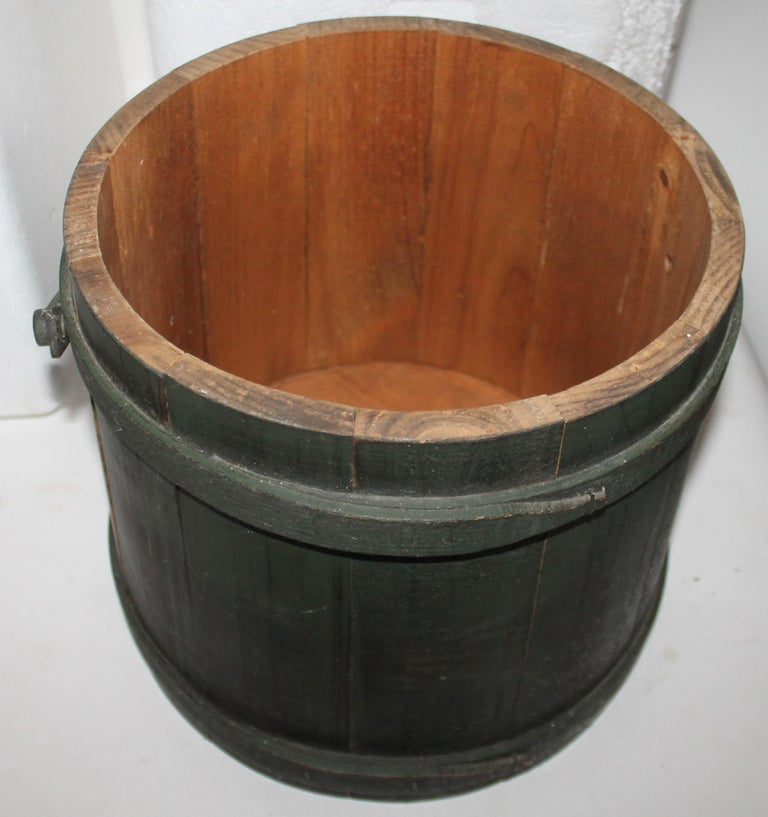 Hand-Crafted Folky Green Bucket with Lid For Sale