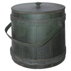 Folky Green Bucket with Lid
