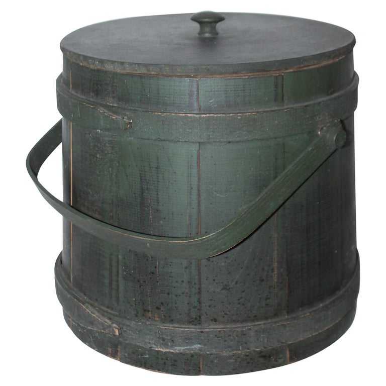 Folky Green Bucket with Lid For Sale
