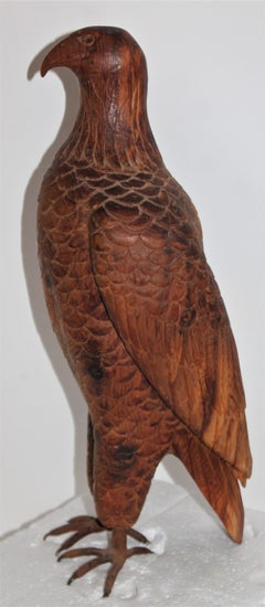 Folky Hand Carved Eagle With Painted Copper Feet