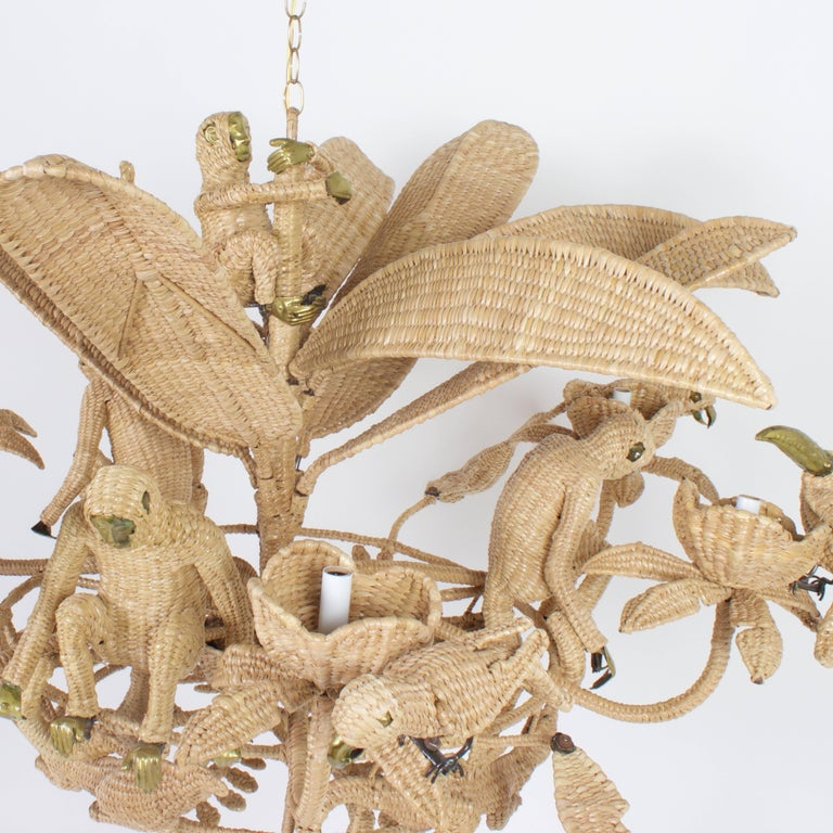 Hand-Woven Folky Mario Lopez Torres Six-Light Jungle Chandelier For Sale