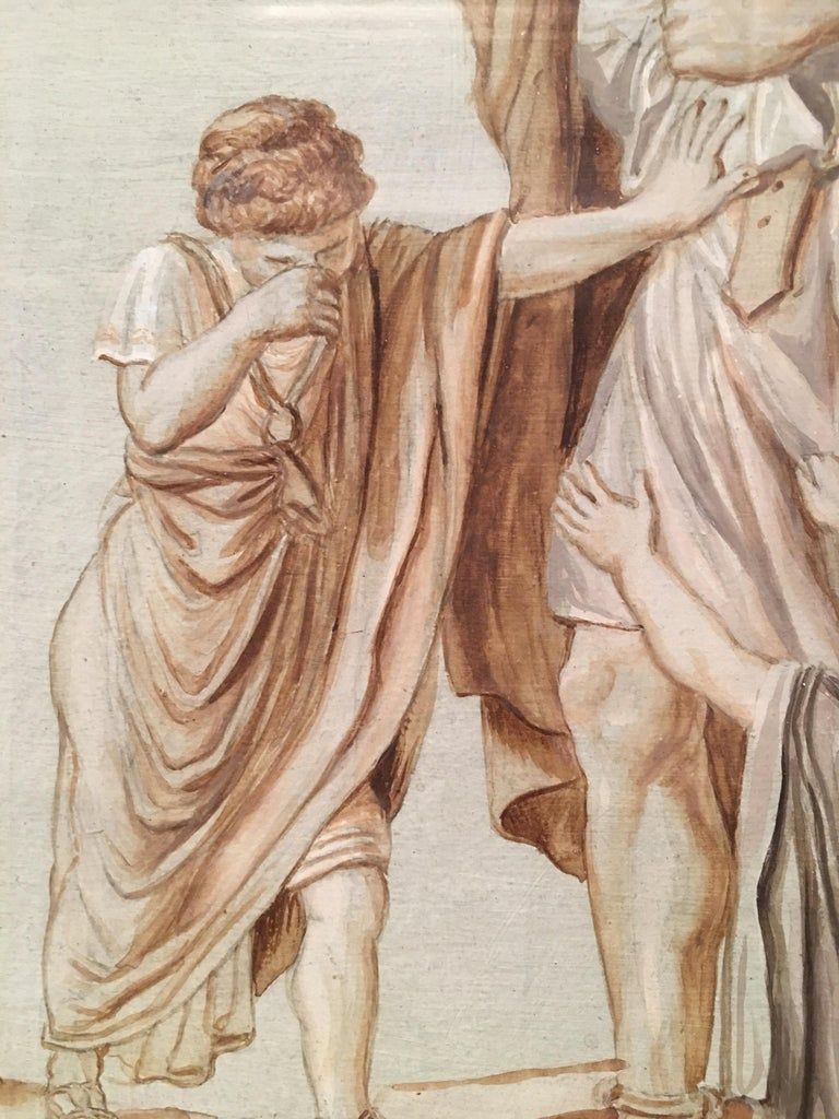 Painted Follower Jacques-Louis David Neoclassical Red Chalck French Paper, 19th Century For Sale