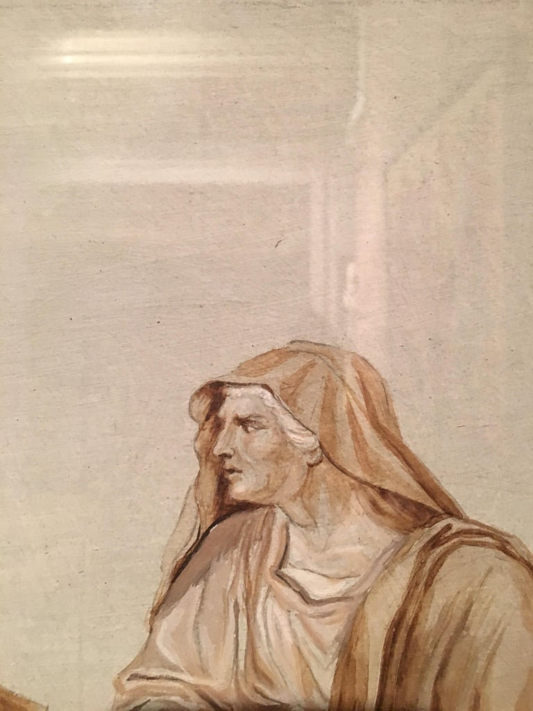 Follower Jacques-Louis David Neoclassical Red Chalck French Paper, 19th Century For Sale 1