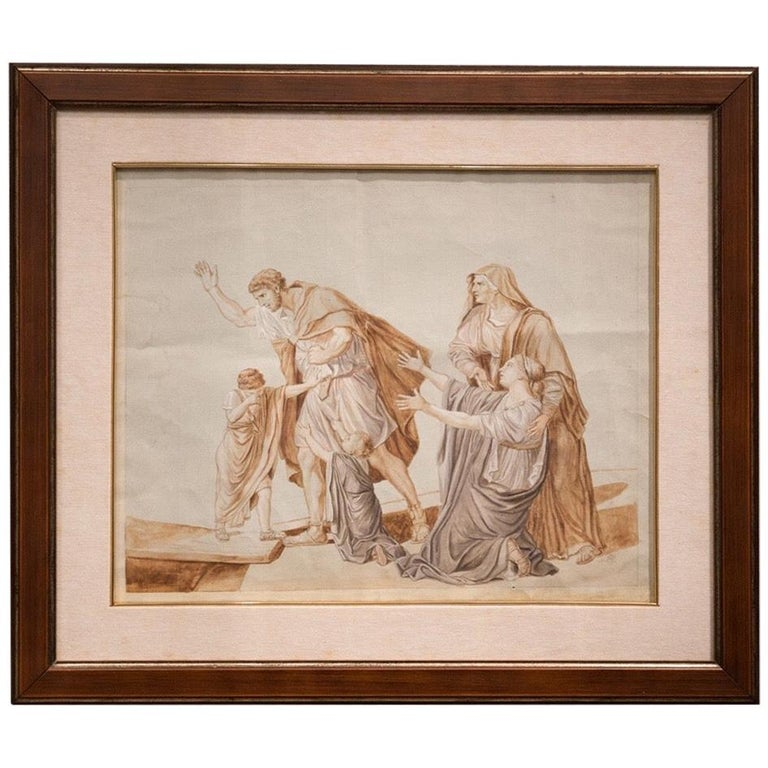 Follower Jacques-Louis David Neoclassical Red Chalck French Paper, 19th Century For Sale
