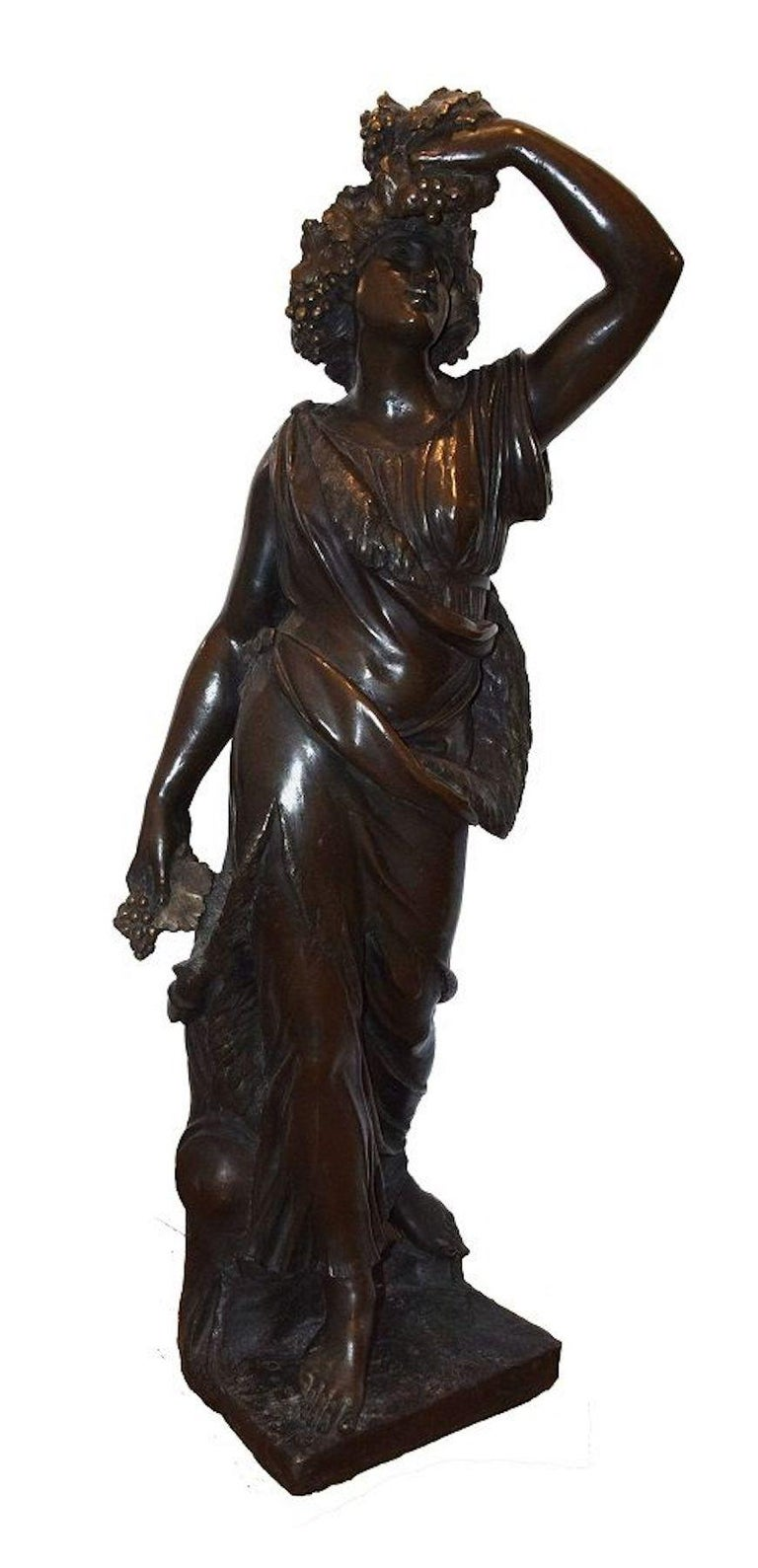Follower of Bacchus is an original bronze sculpture realized by an Italian Sculptor in the end of the XIX century.  Bronze casting. Made in Italy.  Measures: H 100 cm.  Excellent conditions.  Beautiful and precious work of art realized in