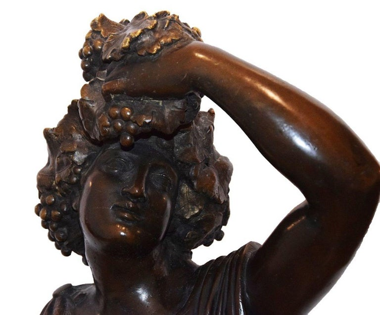 19th Century Follower of Bacchus, Original Bronze Sculpture by Italian Master End of 1800 For Sale