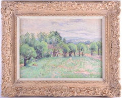 1890's French Impressionist Oil Painting Lady Walking Country Landscape Fields