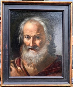 17th century Italian old master portrait, of the head of a Saint with Greybeard
