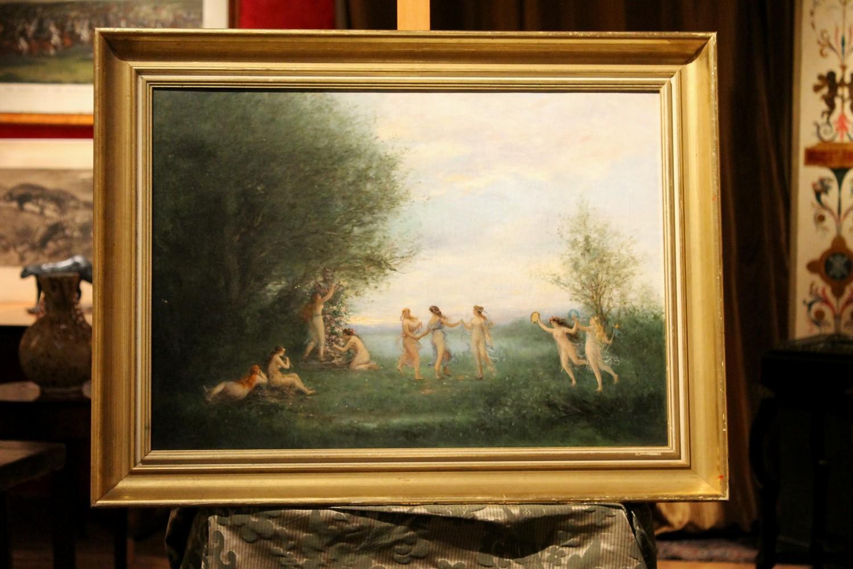"Antique Oil on Canvas Painting ""Dancing Nymphs"" Mythological Landscape Scene"
