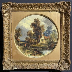 VICTORIAN OIL FOLLOWER OF JOHN CONSTABLE RURAL RIVER LANDSCAPE WITH FIGURES