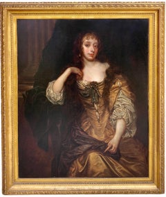Huge Antique British portrait painting of a Noble Woman - Peter Lely Pearls