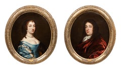 Oil Paintings, Portraits Circle of Peter Lely (1618 – 1680) Pair.