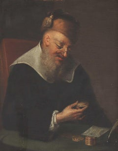 17th Century Dutch Old Master Oil - The Money Lender counting money