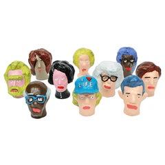 'Followers' Sculptures by Alan Fears Paper Mache Pop Art Heads