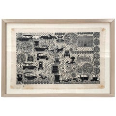 Folly Cove Designers Hand Block Printed Textile with Antique Automobiles