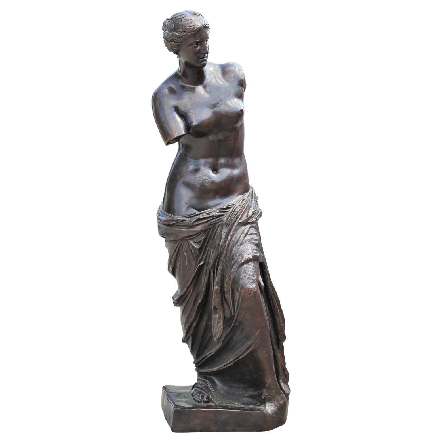 Monumental Classical Italian Venus de Milo Goddess Patinaed Bronze Statue