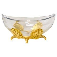 Fondica Bronze and Crystal Large  Bowl Centerpiece by Mathias