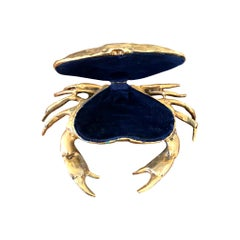 Fondica Solid Cast Crab with Hinged Top Shell with Blue Velvet Lining