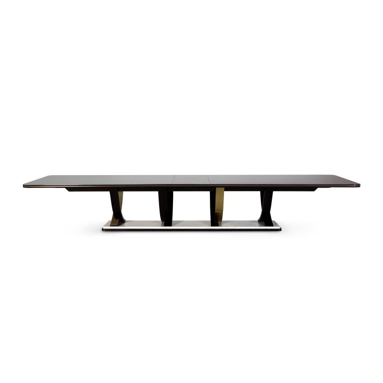 Fontaine 12-Seat Extendable Dining Table Macassar Ebony Brass Calacatta Bianco For Sale 3