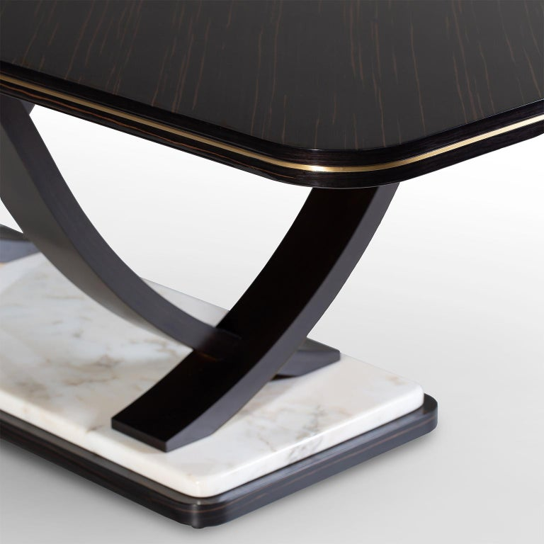 Art Deco Fontaine 12-Seat Extendable Dining Table Macassar Ebony Brass Calacatta Bianco For Sale