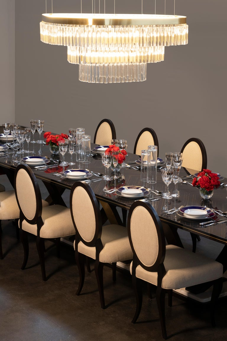 Fontaine 12-Seat Extendable Dining Table Macassar Ebony Brass Calacatta Bianco In New Condition For Sale In Cartaxo, PT