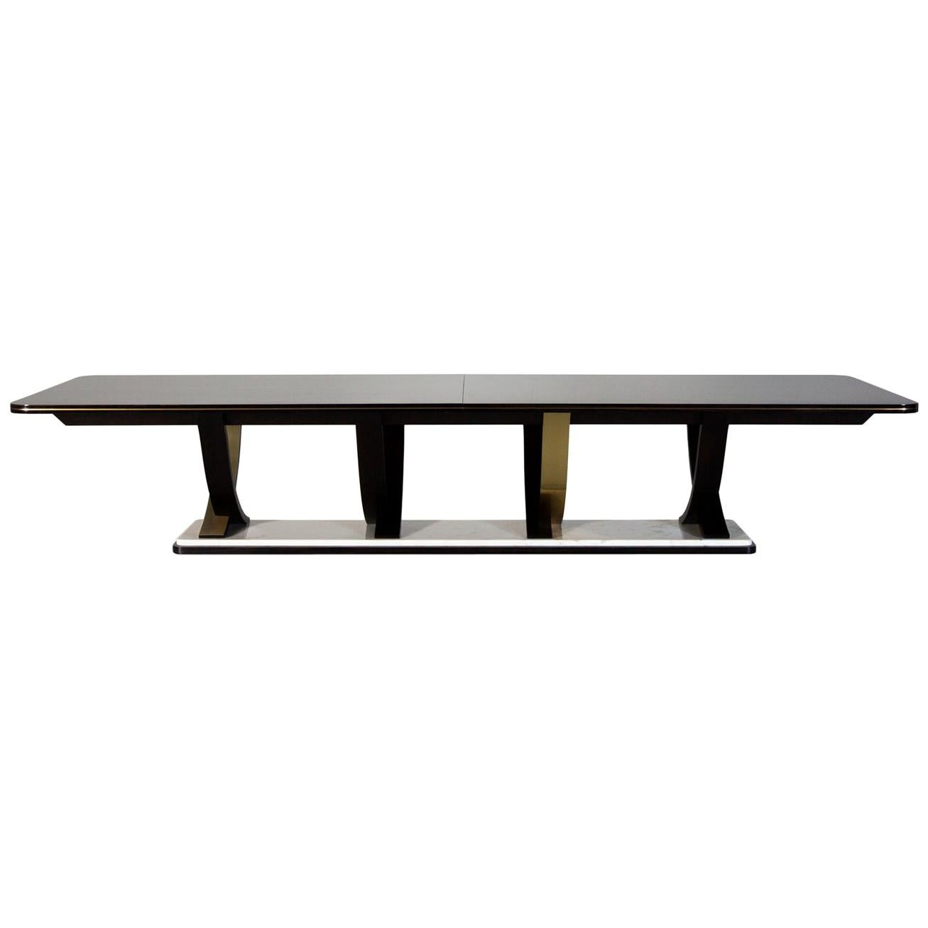 Fontaine 12-Seat Extendable Dining Table Macassar Ebony Brass Calacatta Bianco