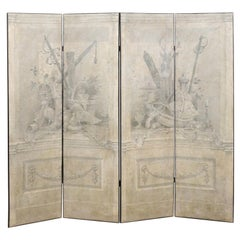 """""""Fontainebleu"""" Hand Painted Four-Panel Grisaille Trompe L'oeil Screen"""