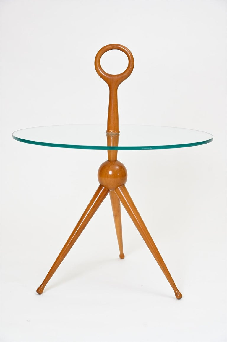 Small side table attributed to Pietro Chiesa, circa 1950s, Italy.  Glass and maple wood.