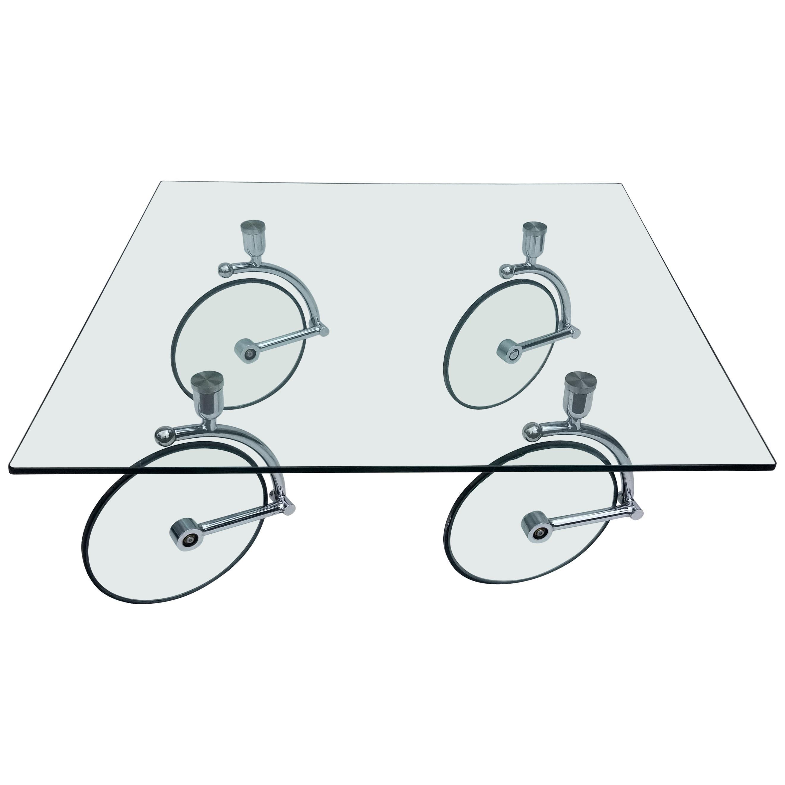 Fontana Arte 1970 Midcentury Glass and Chrome Coffee Table