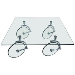Fontana Arte 1970 Midcentury Glass and Chrome Coffee Table