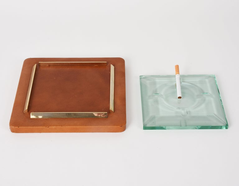 20th Century Fontana Arte 1970s, Ashtray in Leather, Brass and Faceted Glass, Italy Art Glass For Sale