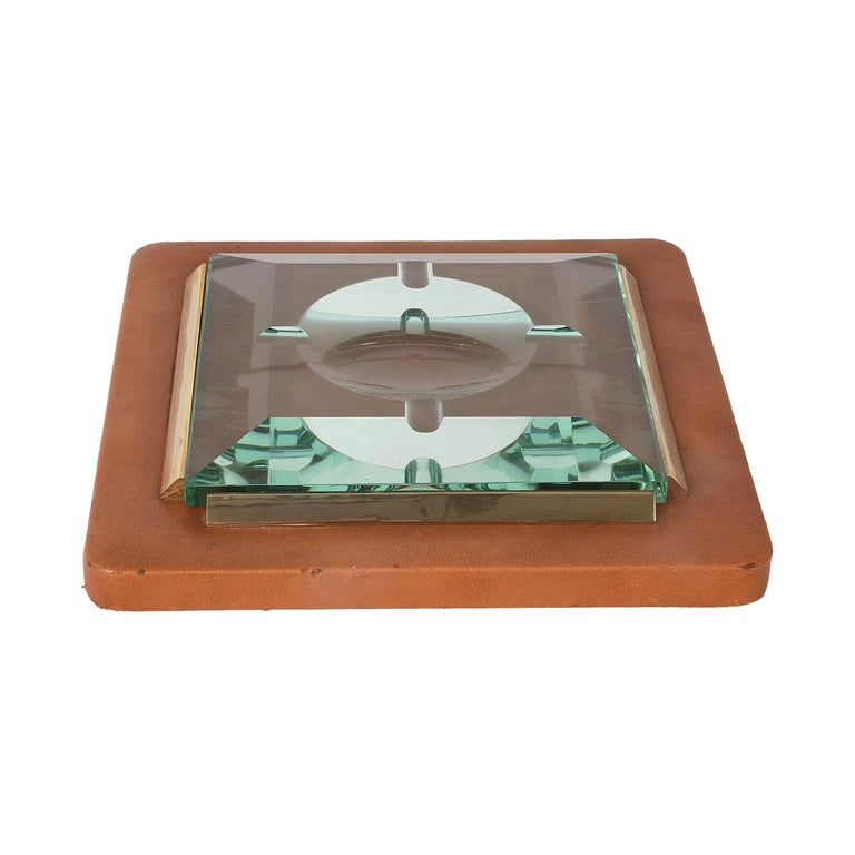 Fontana Arte 1970s, Ashtray in Leather, Brass and Faceted Glass, Italy Art Glass For Sale