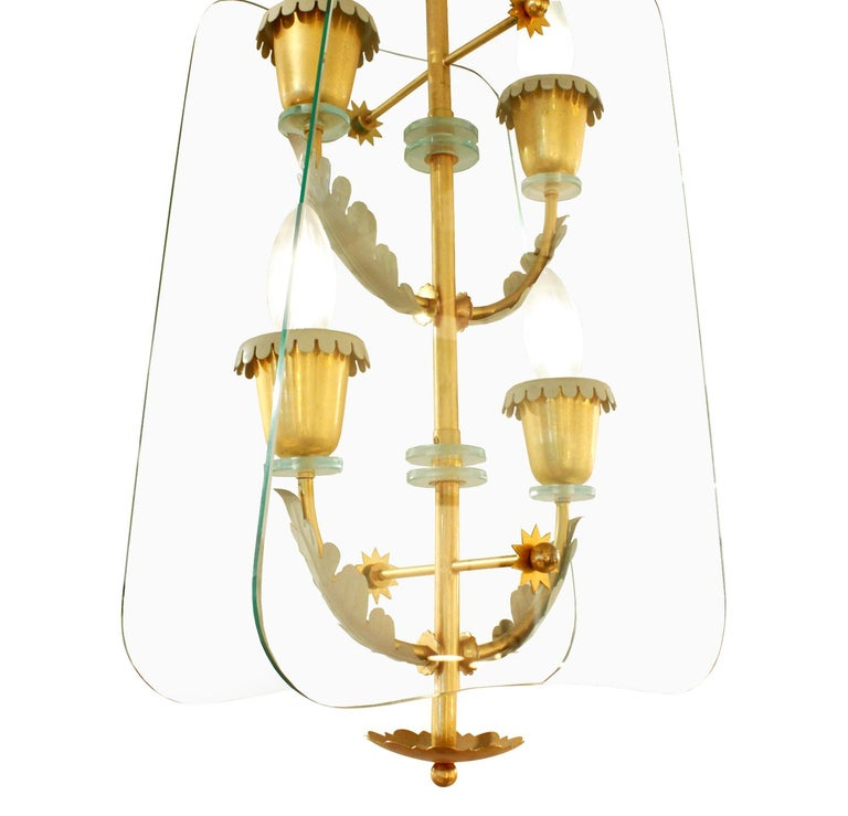 Hand-Crafted Fontana Arte 4-Light Pendant Brass Chandelier, 1940s For Sale
