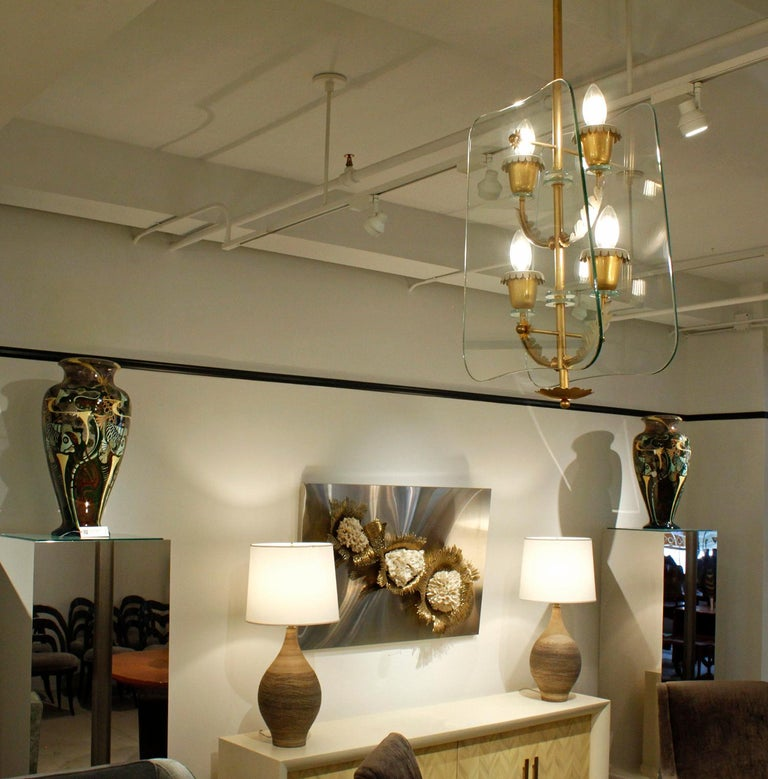 Fontana Arte 4-Light Pendant Brass Chandelier, 1940s In Excellent Condition For Sale In New York, NY