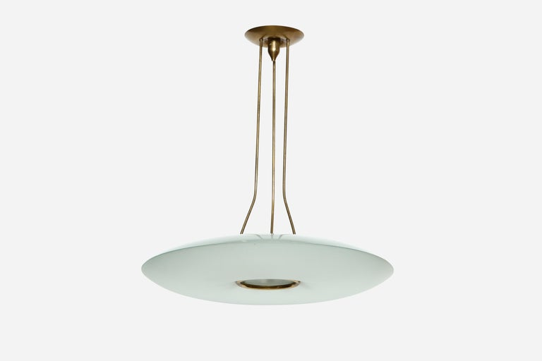 Mid-Century Modern Fontana Arte Attributed Chandelier by Max Ingrand For Sale