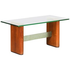 Fontana Arte Attributed Midcentury Coffee Table in Glass and Wood, 1950s