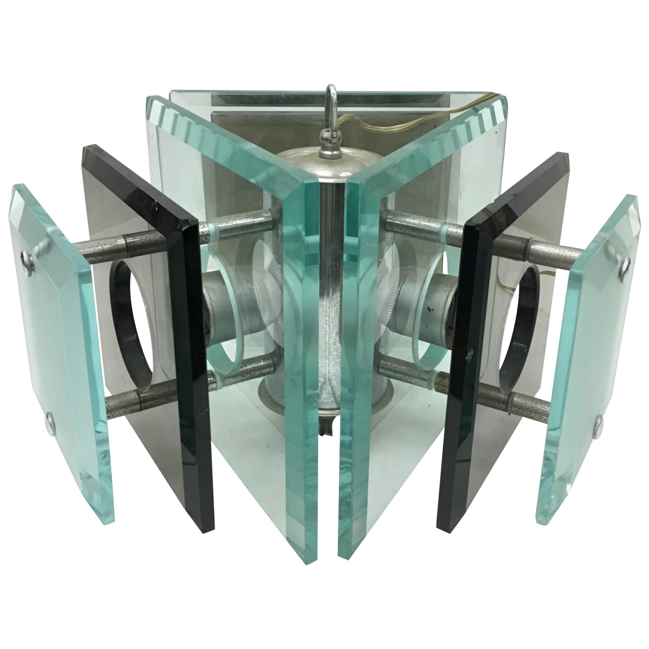Fontana Arte Attributes Space Age Steel and Glass Italian Pendant, circa 1970
