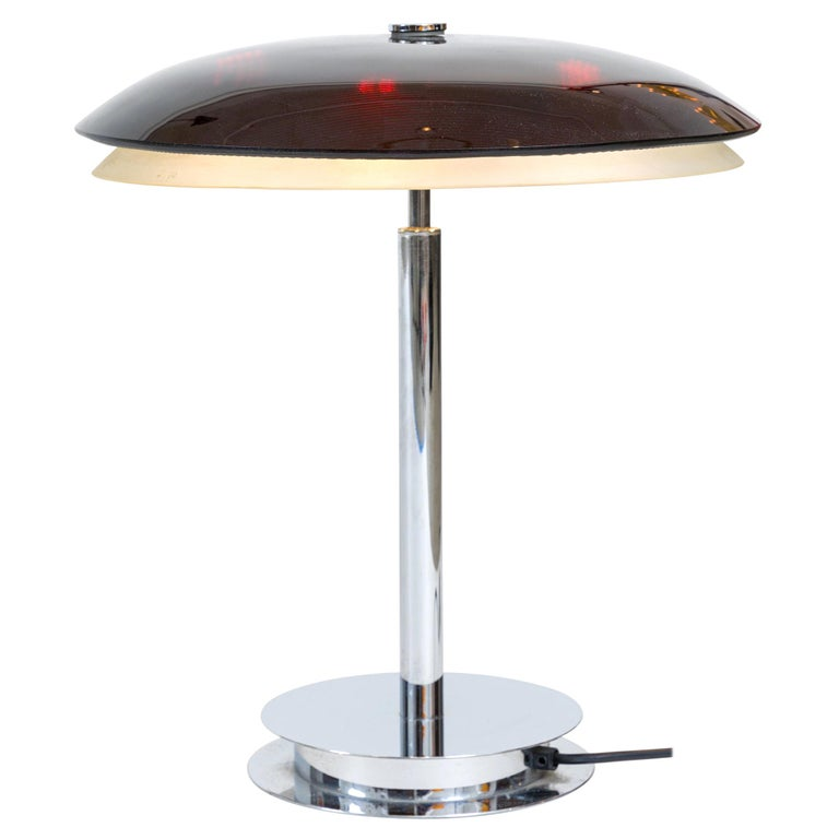 Fontana Arte Bis Table Lamp with Chrome Base and Black Glass, Italy, 1960s For Sale