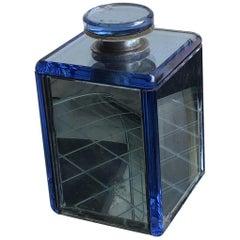 Fontana Arte Bottle Blu Glass Wood, 1940, Italy