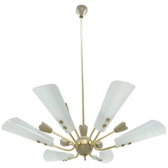 Fontana Arte Brass Sputnik Chandelier Light Fixture