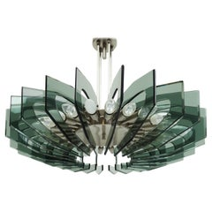 Stunning Chandelier in Colored Glass, Fontana Arte style, circa 1950, Italy