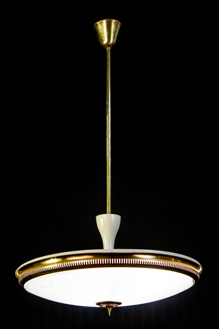 Midcentury Ceiling Fixture or Pendant by Luigi Brusotti, Italy, 1940 For Sale 10