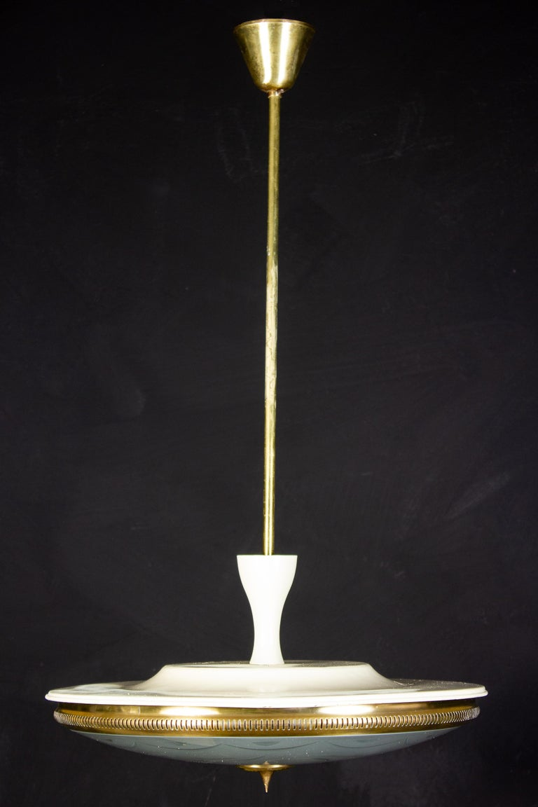 Midcentury Ceiling Fixture or Pendant by Luigi Brusotti, Italy, 1940 In Excellent Condition For Sale In Rome, IT