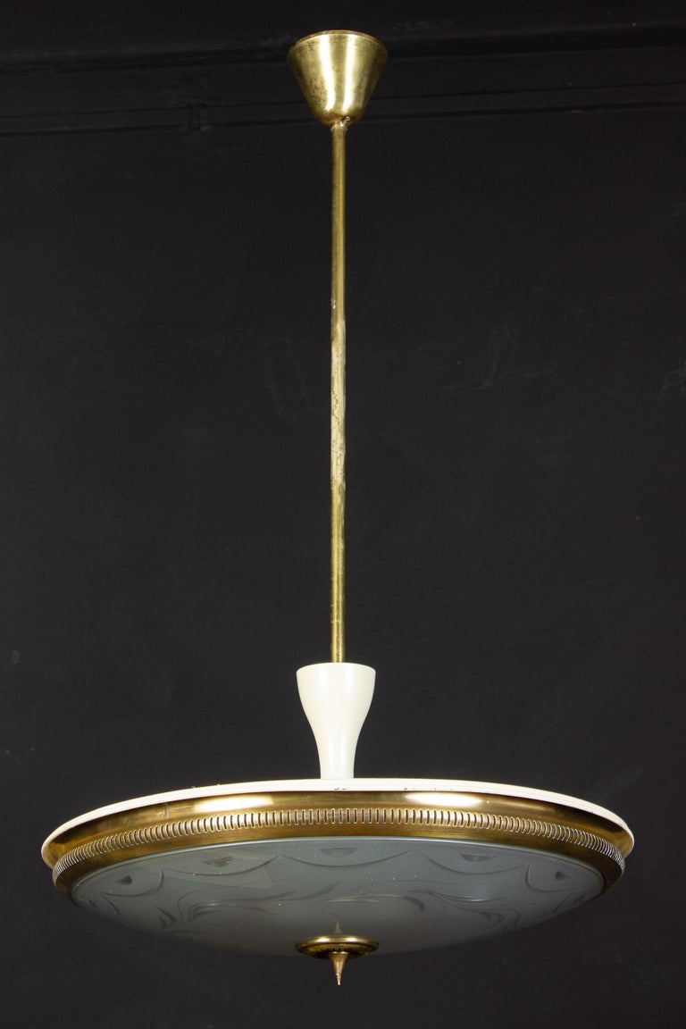 Midcentury Ceiling Fixture or Pendant by Luigi Brusotti, Italy, 1940 For Sale 1