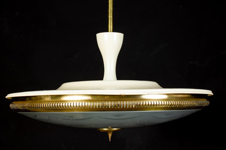 Midcentury Ceiling Fixture or Pendant by Luigi Brusotti, Italy, 1940 For Sale 3