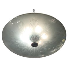 Fontana Arte Ceiling Light Brass Glass, 1940, Italy