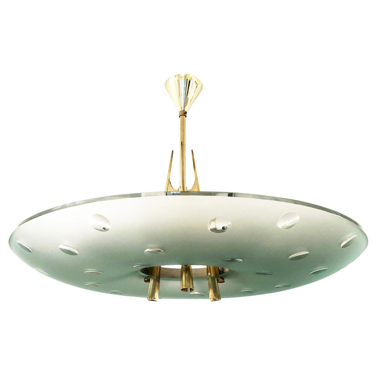 Mid-Century Modern Fontana Arte Chandelier by Max Ingrand, Italy, 1955 For Sale
