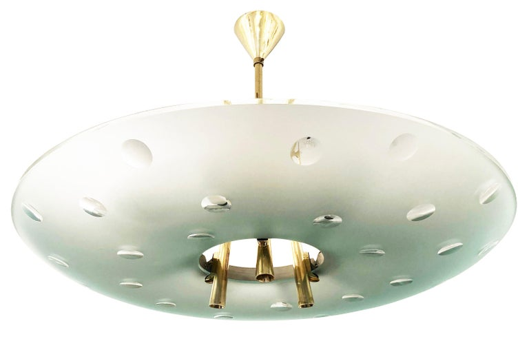 Mid-20th Century Fontana Arte Chandelier by Max Ingrand, Italy, 1955 For Sale