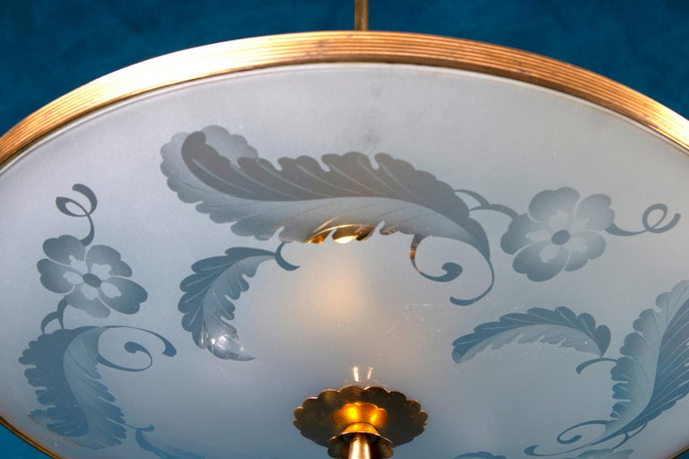 Fontana Arte Chandelier Attrib. Pietro Chiesa, Italy, 1940s In Excellent Condition For Sale In Rome, IT