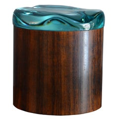 Fontana Arte, Circular Lid Box in Wood and Glass, Italy, before 1948